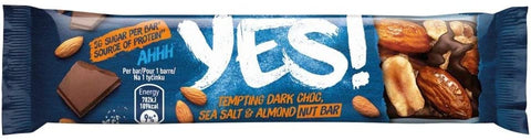 YES! Dark Chocolate Sea Salt & Almond Nut Snack Bar 35g (Pack of 12)