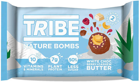 Tribe White Choc Berry + Cashew Butter Nature Bomb 40g (Pack of 12)