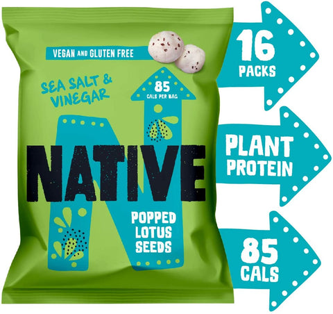 Native Snacks Popped Lotus Seeds Sea Salt & Vinegar 20g (Pack of 16)