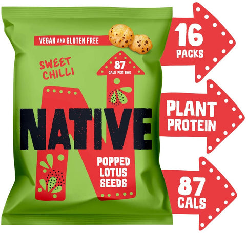 Native Snacks Popped Lotus Seeds Sweet Chilli 20g (Packof 16)