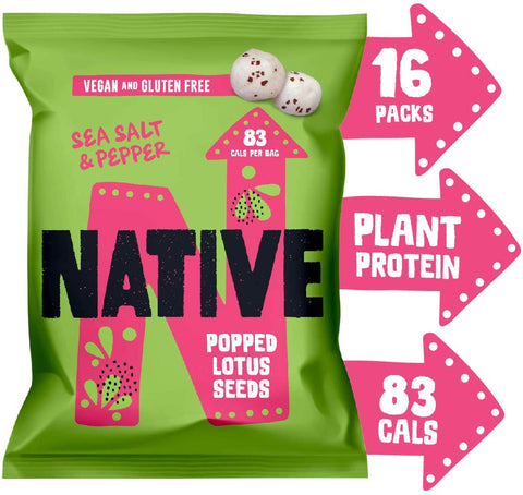 Native Snacks Popped Lotus Seeds Sea Salt & Pepper 20g (Pack of 16)