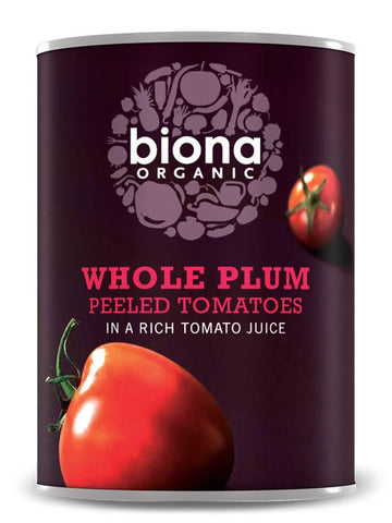 Biona Organic Whole Plum Peeled Tomatoes 800g (Pack of 6)