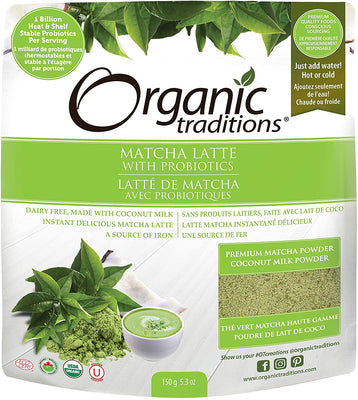 Organic Traditions Organic Matcha Latte With Probiotics 150g