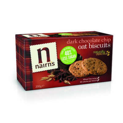 Nairns Dark Chocolate Chip Oat Biscuits - Wheat Free 200g
