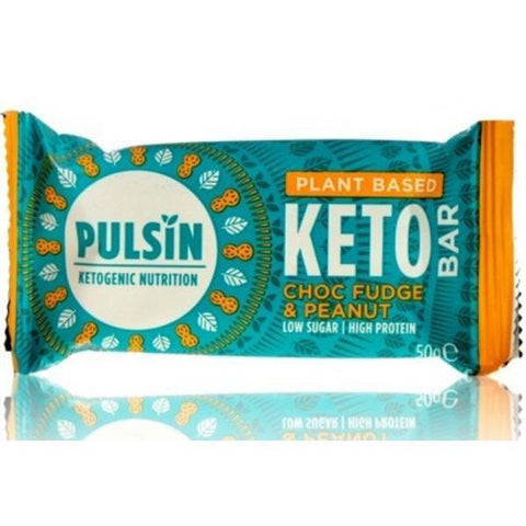 Pulsin Keto Choc Fudge & Peanut Bar 50g (Pack of 18)