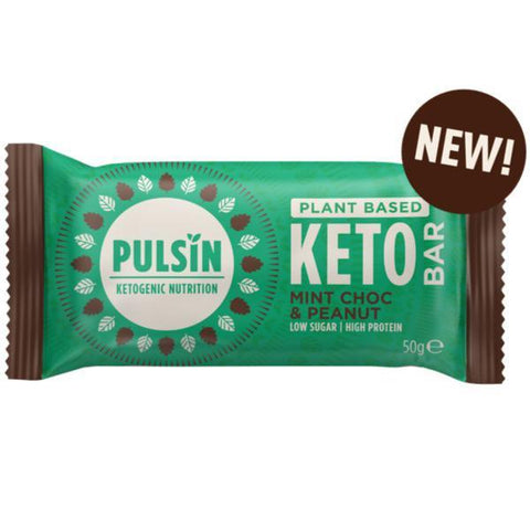 Pulsin Keto Choc Mint & Peanut Bar 50g (Pack of 18)