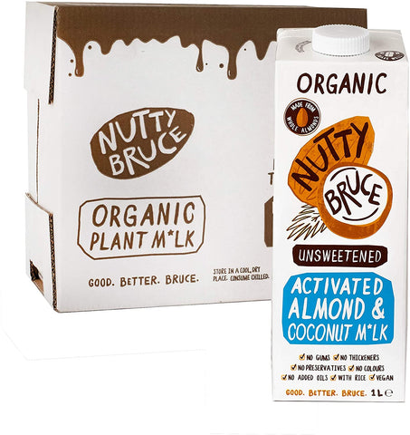 Nutty Bruce Activated Unsweetened Almond & Coconut M*lk 1Ltr (Pack of 6)