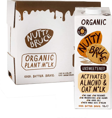 Nutty Bruce Activated Unsweetened Almond & Oat M*lk 1Ltr (Pack of 6)