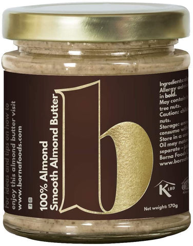 Borna Crunchy 100% Almond Butter 170g (Pack of 6)