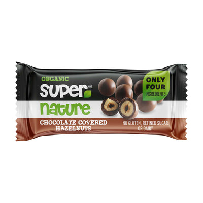 Supernature Chocolate Covered Hazelnuts 40g (Pack of 12)