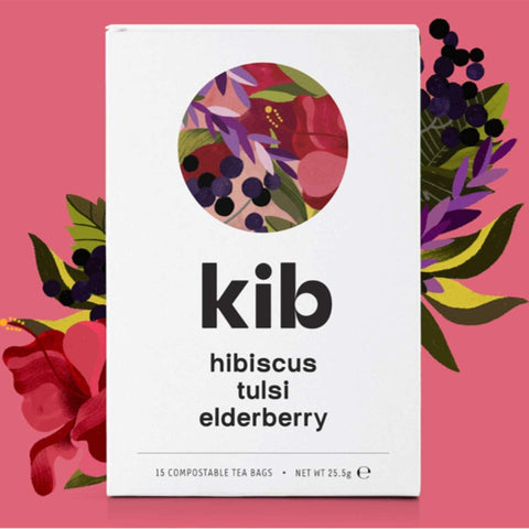 Kib Tea Hibiscus Tulsi & Elderberry Tea 15 Bags (Pack of 4)