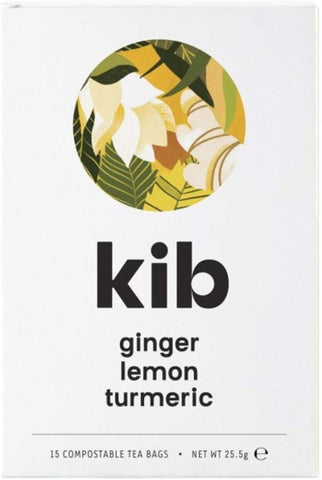 Kib Tea Ginger Lemon & Turmeric Tea 15 Bags (Pack of 4)