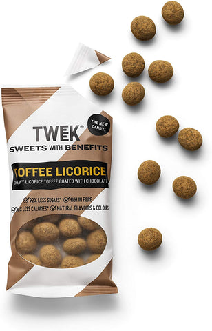 tweek sweets Chocolate Dusted Toffee Licorice 65g (Pack of 20)