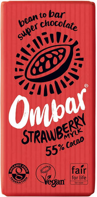 Ombar Strawberries Mylk Chocolate Bar 35g (Pack of 10)