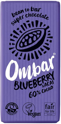 Ombar Acai & Blueberry Chocolate Bar 35g (Pack of 10)