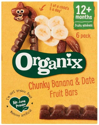 Organix Chunky Banana & Date Fruit Bars 12m+ (6x17g) (Pack of 6)