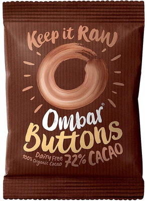 Ombar Dark 72% Raw Chocolate Buttons 25g (Pack of 15)