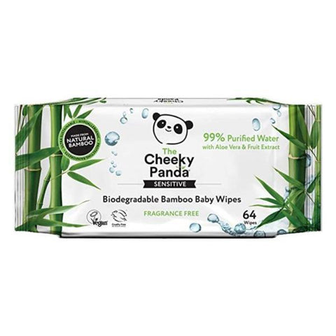 The Cheeky Panda Biodegradable 64 Bamboo Baby Wipes