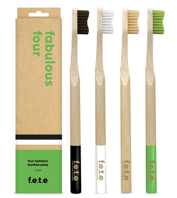 F.E.T.E Toothbrush Multi Pack Firm Natural Green White Black (4 pieces)