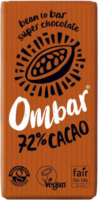 Ombar Dark 72% Raw Cacao Bar 70g (Pack of 10)