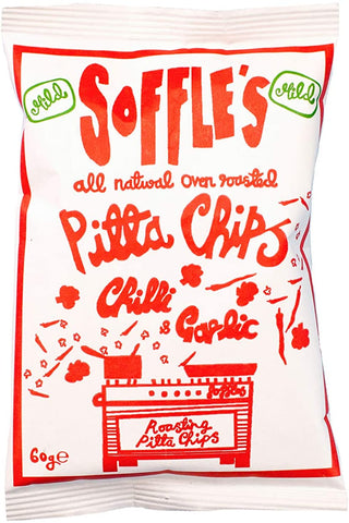 Soffle's Mild Chilli & Garlic Pitta Chips 60g (Pack of 15)