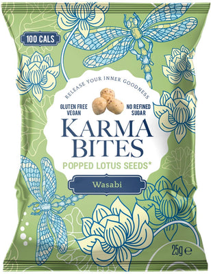Karma Bites Popped Lotus Seeds - Wasabi 25g (Pack of 12)