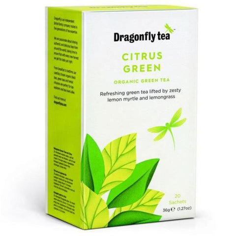Dragonfly Organic Citrus Green Tea 20 Bags (Pack of 4)