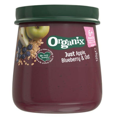 Organix Apple Blueberry & Oats Jars 6m+ 120g (Pack of 6)