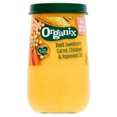 Organix Sweetcorn Carrot Chickpea & Olive Oil Jars 7m+ 190g (Pack of 6)