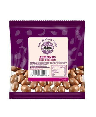 Biona Organic Milk Choc Almonds 70g