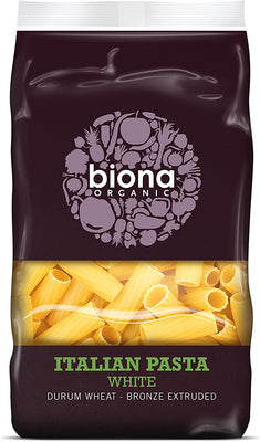 BIONA Biona White Rigatoni Organic~ Bronze extruded 500g (Pack of 12)