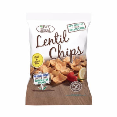 Eat Real Lentil Chip Lemon Chilli 40g (Pack of 12)