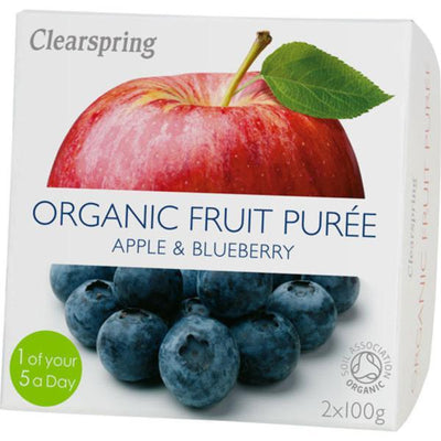 Clearspring Fruit Puree Apple & Blueberry 2x100g