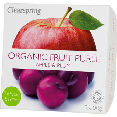 Clearspring Fruit Puree Apple & Plum 2x100g
