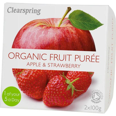 Clearspring Fruit Puree Apple & Strawberry 2x100g