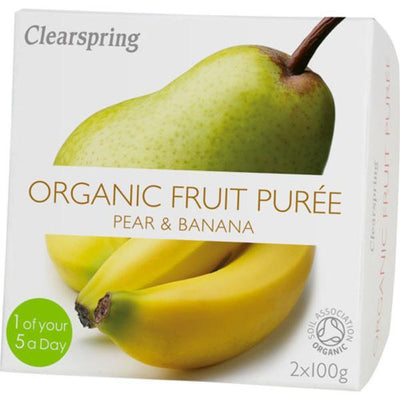 Clearspring Fruit Puree Pear/Banana 2x100g