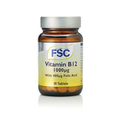 FSC Vitamin B12 1000Ug With 400Ug Folic Acid 30 Tablets