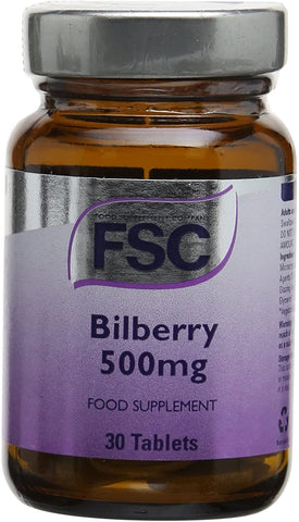 FSC Bilberry 500Mg 30 Tablets
