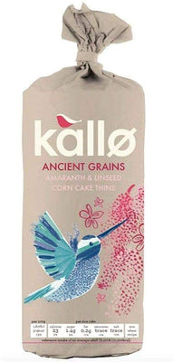 Kallo Ancient Grains Organic Corn Cake Thins 150g (Pack of 12)