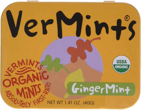 VerMints Organic Ginger Mints  40g (Pack of 6)