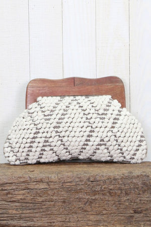Wood Handle Woven Clutch