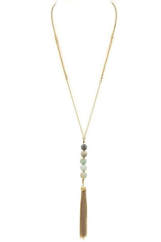 Mint Bead Gold Tassel Necklace