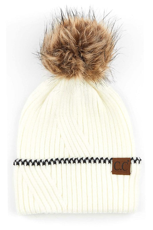 CC Solid Pom Beanie with Accented Cuff