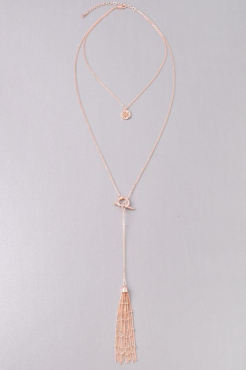 Rose Gold Tassel Necklace