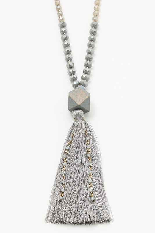 Grey Tassel & Wood Statement Necklace