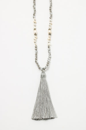 Grey Tassel Necklace