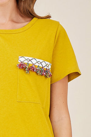 Fringe Detail Pocket Tee