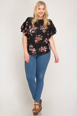 Florally Obsessed Ruffle Top