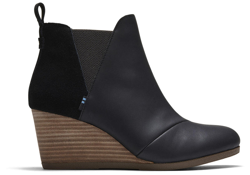TOMS Black Leather & Suede Kelsey Bootie