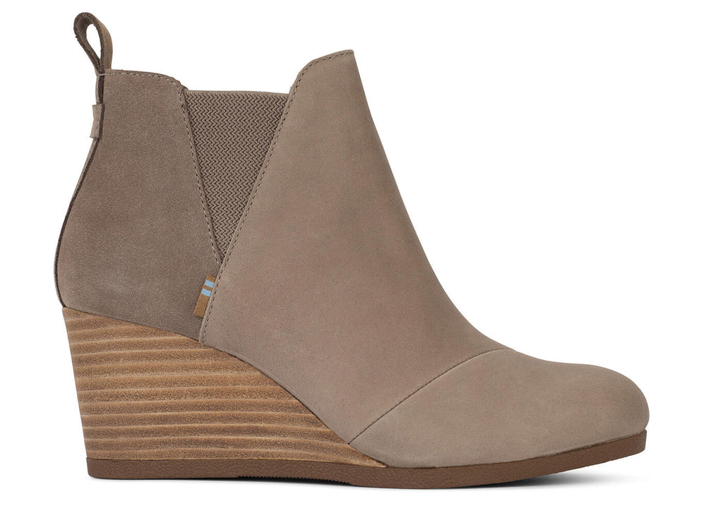TOMS Taupe Grey Leather & Suede Kelsey Bootie